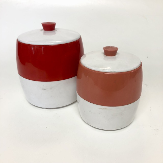CAN0201 CANNISTER, Red White Plastic Storage Jar $3.75