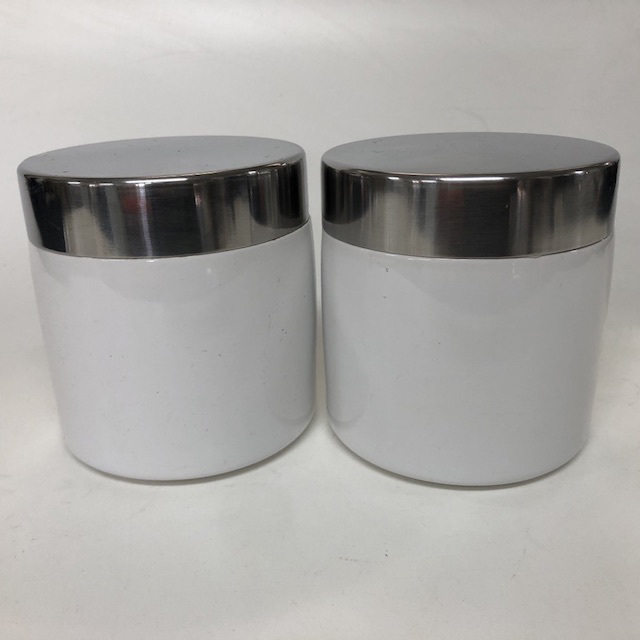CAN0202 CANNISTER, White Ceramic w Chrome Lid $3.75