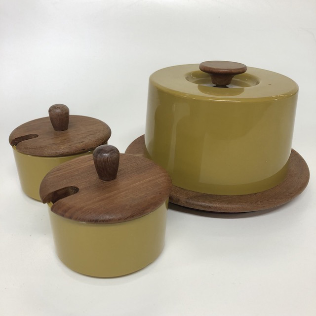 CON0011 CONDIMENT SET, Olive Green and Teak $18.75