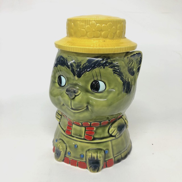 COO0063 COOKIE JAR, Green Cat with Hat $7.50