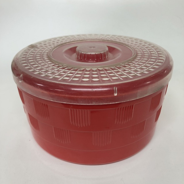 STO0420 STORAGE CONTAINER, Large Red w Clear Lid $3.75