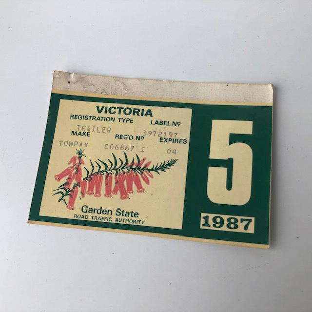CAR0132 CAR ACCESSORY, Registration Label - Victoria $6.25