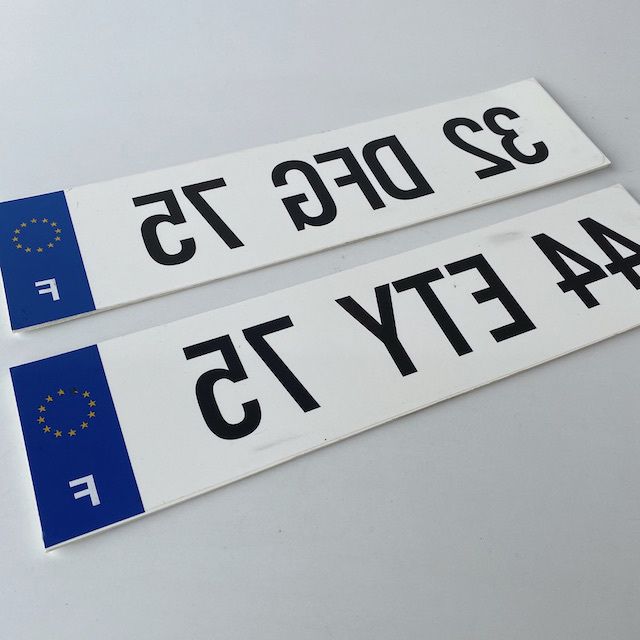 NUM0001 NUMBER PLATE, EU France - White Blue Reversed (Single) $10
