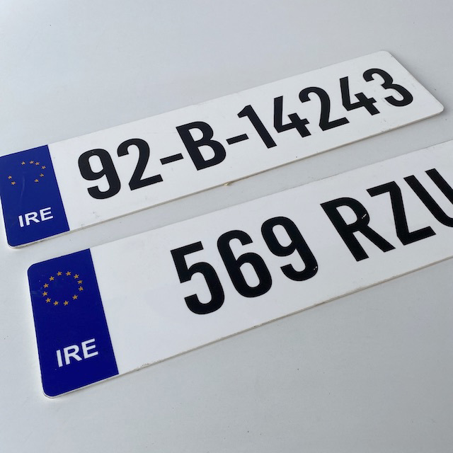 NUM0005 NUMBER PLATE, EU Ireland - White Blue (Single) $10