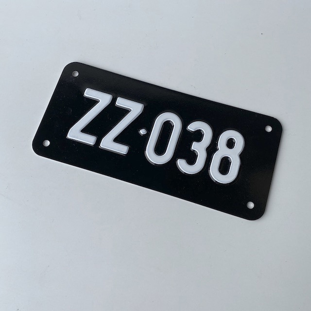 NUM0006 NUMBER PLATE, Generic - Small Black White ZZ038 (Single) $10