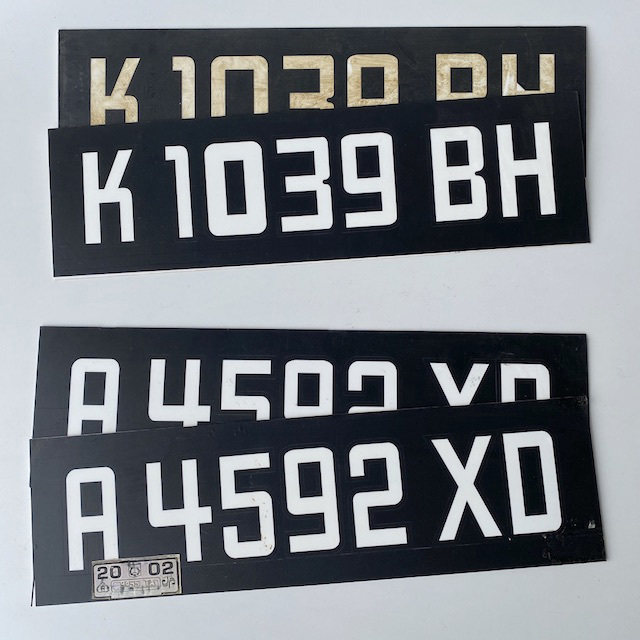 NUM0007 NUMBER PLATE, Generic Eastern European - Black White (Pair) $20
