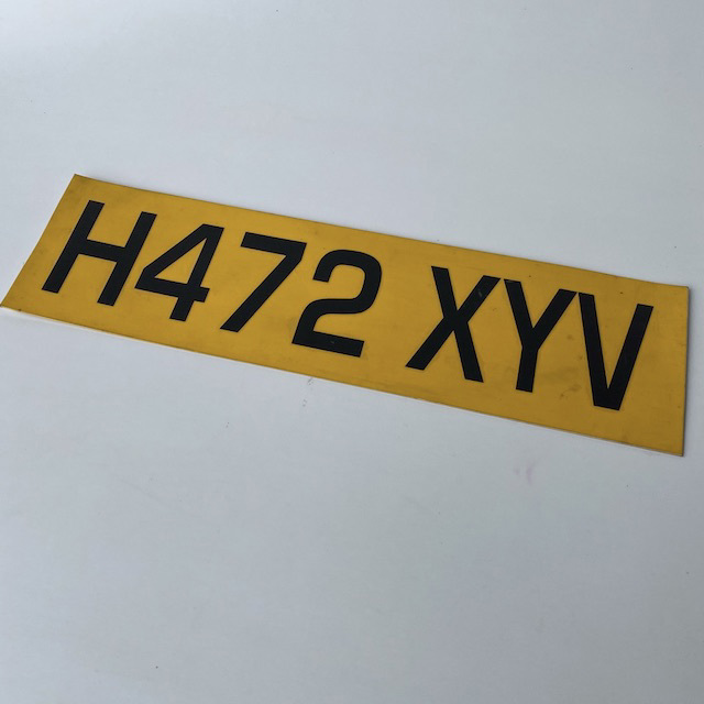 NUM0008 NUMBER PLATE, Great Britain - Yellow Black (Single) $10