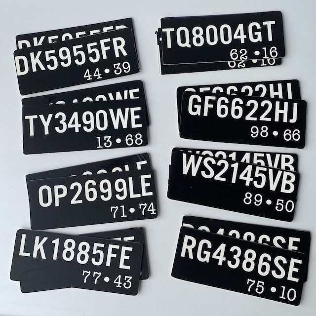 NUM0009 NUMBER PLATE, Motorcycle 20 x 8cm Black White (Pair) $15