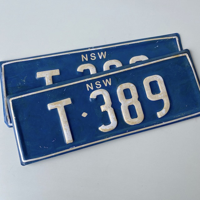 NUM0010 NUMBER PLATE, NSW - Blue White T389 (Pair) $20