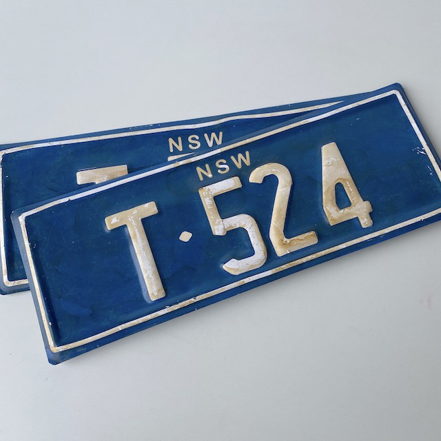 NUM0011 NUMBER PLATE, NSW - Blue White T524 (Pair) $20