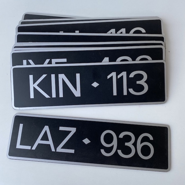 NUM0017 NUMBER PLATE, Generic Black Silver (Single) $10