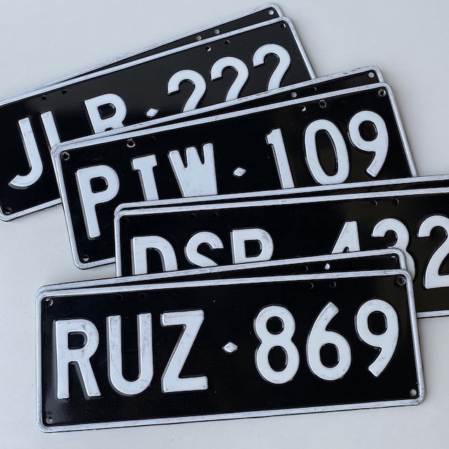 NUM0018 NUMBER PLATE, Generic Black White (Pair) $20