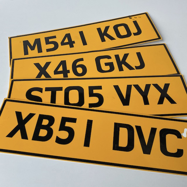 NUM0021 NUMBER PLATE, Great Britain Style - Yellow Black $10