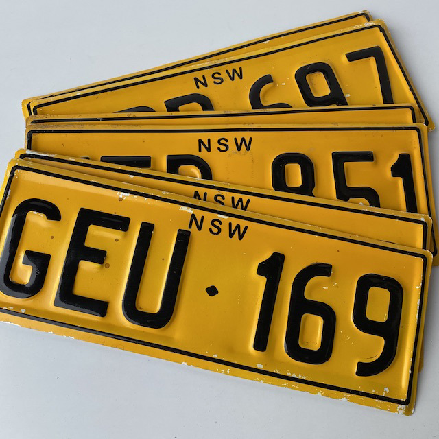 NUM0022 NUMBER PLATE, NSW Yellow Black (Pair) $20