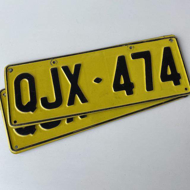 NUM0024 NUMBER PLATE, NSW Yellow Black Generic (Pair) $20