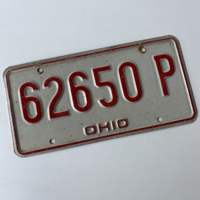 NUM0027 NUMBER PLATE, USA - Red White Ohio $12.50