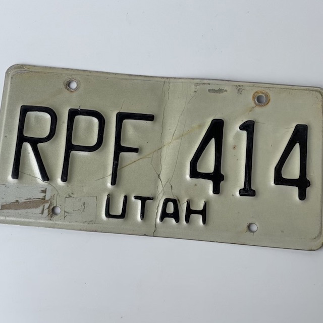NUM0028 NUMBER PLATE, USA - White Black Utah $12.50