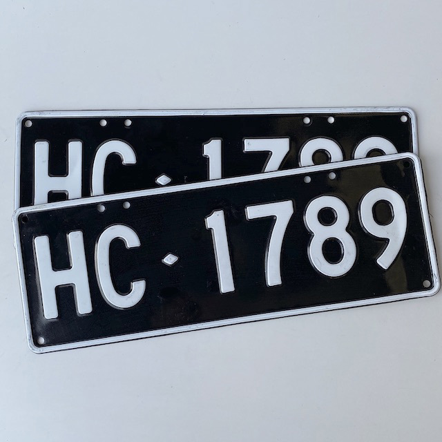 NUM0032 NUMBER PLATE, Victorian Black White Hire Car (Pair) $20