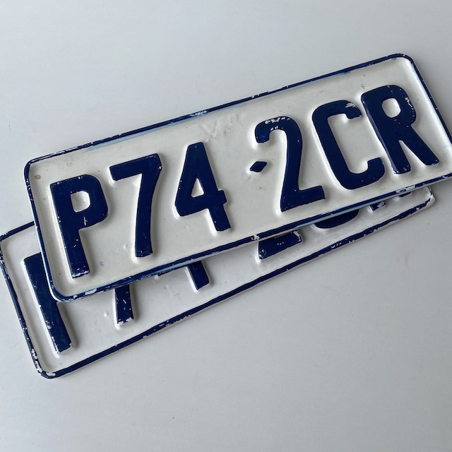 NUM0033 NUMBER PLATE, Victorian White Blue (Pair) $20