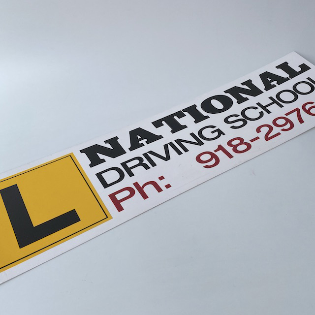 SIG0112 SIGN, National Driving School w Yellow L Plate $18.75