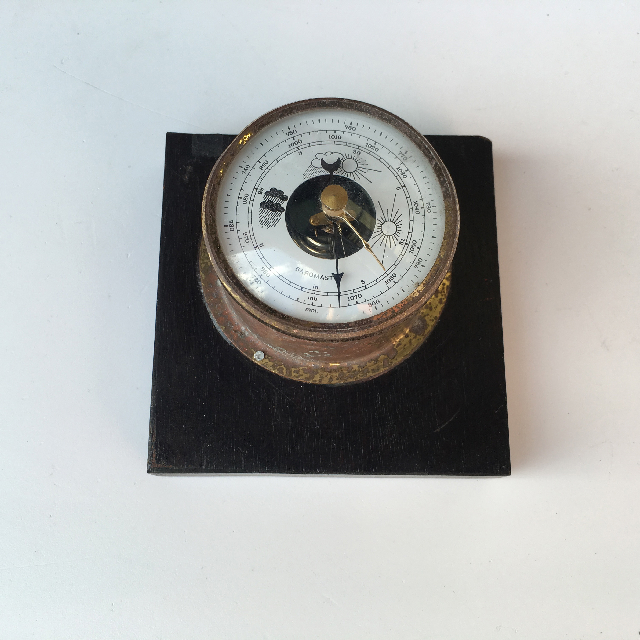 BAR0401 BAROMETER, Small Brass on Timber Plaque $6.25
