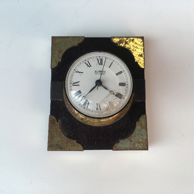 CLO0001 CLOCK, Small Brass on Timber Plaque $6.25