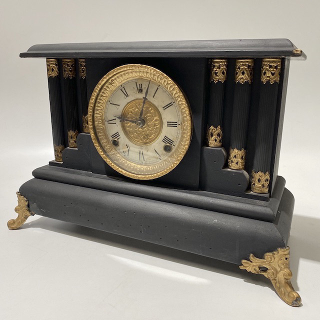 CLO0135 CLOCK, Mantel Clock - Black Gold Victorian $30