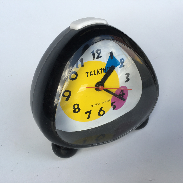 CLO0002 CLOCK, Alarm Novelty Black (Talks) $4.50