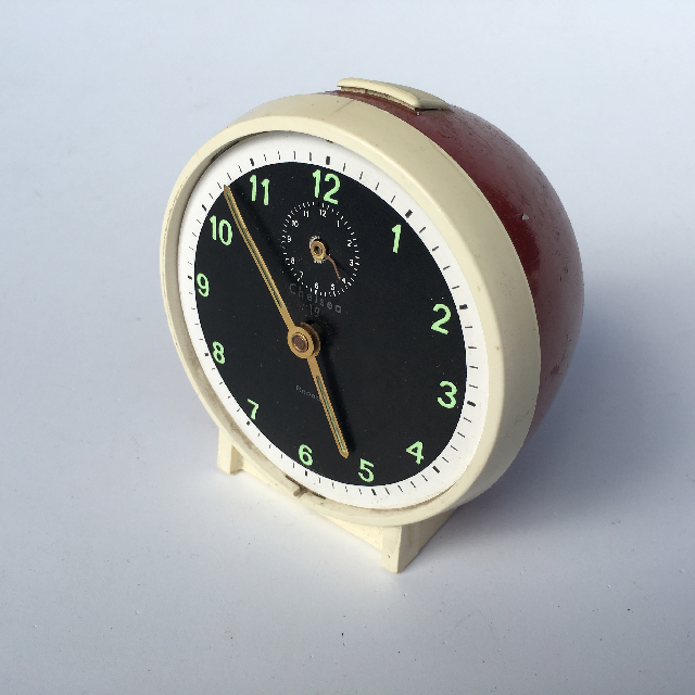 CLO0008 CLOCK, Alarm - 1960s Red, Cream, Black $6.25