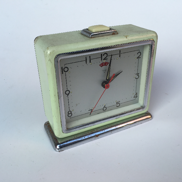 CLO0011 CLOCK, Alarm - Pale Green Deco $6.25