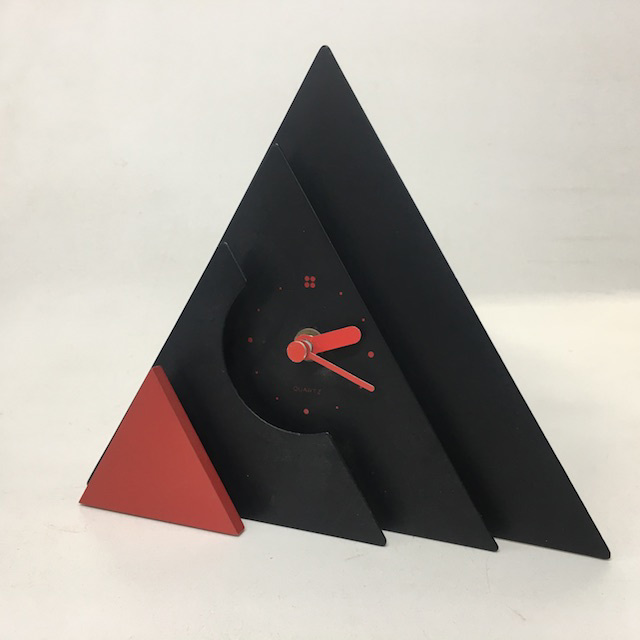 CLO0077 CLOCK, Alarm - Black Red Triangle $5