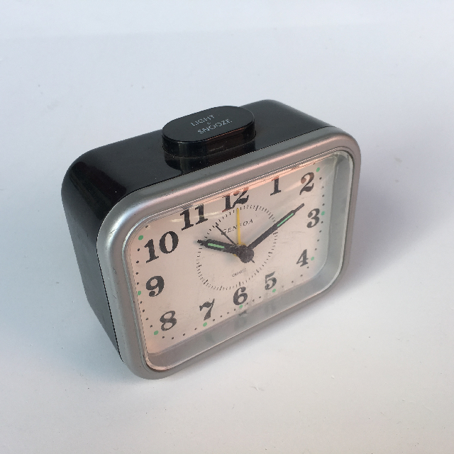 CLO0016 CLOCK, Alarm - Black Rectangular Genoa $5