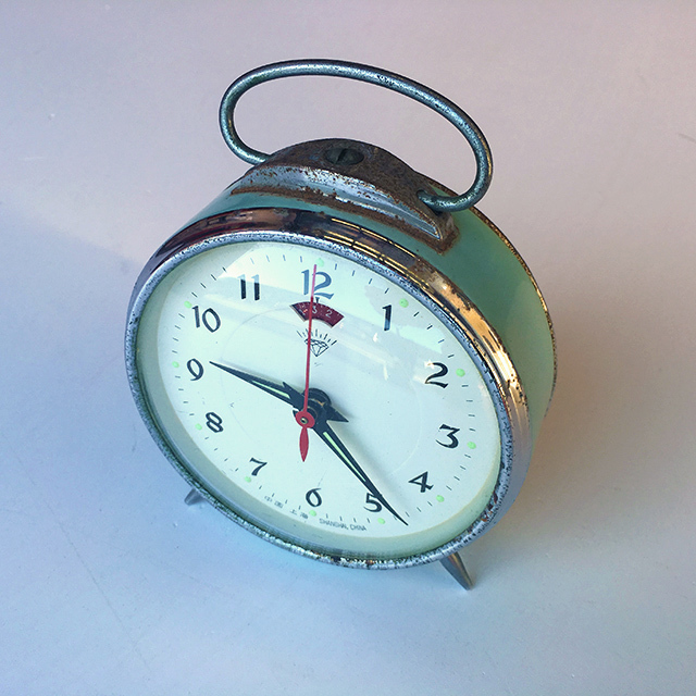 CLO0130 CLOCK, Alarm - Blue and Chrome $5