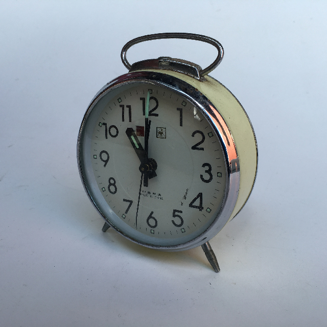 CLO0019 CLOCK, Alarm - Cream & Chrome $5