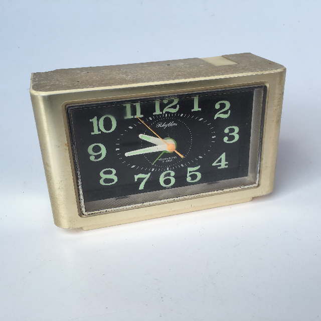 CLO0021 CLOCK, Alarm - Light Gold Rectangular Rhythm $5