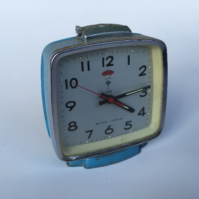 CLO0022 CLOCK, Alarm - Pale Blue Deco $6.25