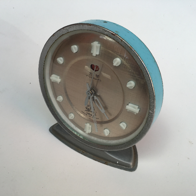 CLO0023 CLOCK, Alarm - Pale Blue Copper Face $5