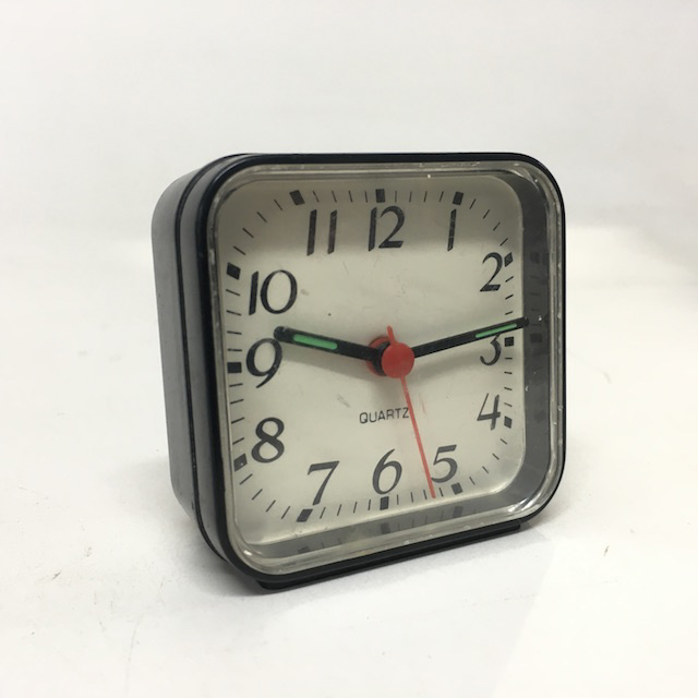CLO0095 CLOCK, Alarm - Small Square Black Quartz $4.5
