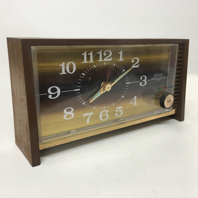 CLO0100 CLOCK, Alarm - Timber w Gold Rectangular Seiko $5