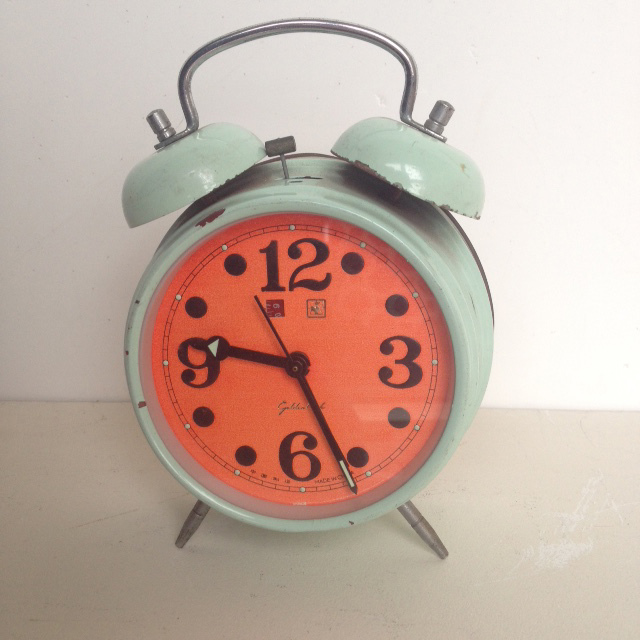 CLO0017 CLOCK, Alarm - Blue w Orange Face $5