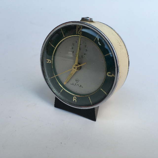 CLO0025 CLOCK, Alarm - Small Cream & Dark Green $6.25