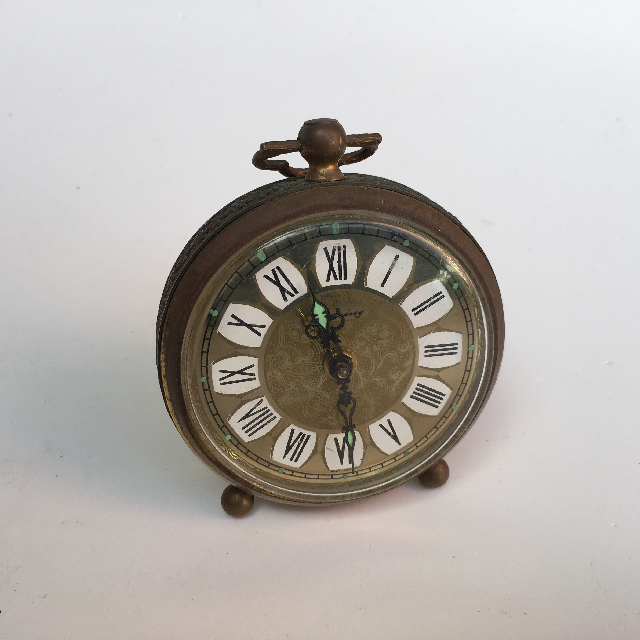 CLO0026 CLOCK, Alarm - Small Ornate Gold $6.25