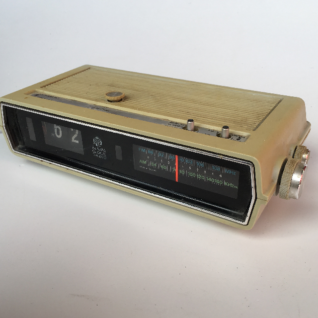 CLO0054 CLOCK, Flip Clock Radio - Yellowed PYE $7.50