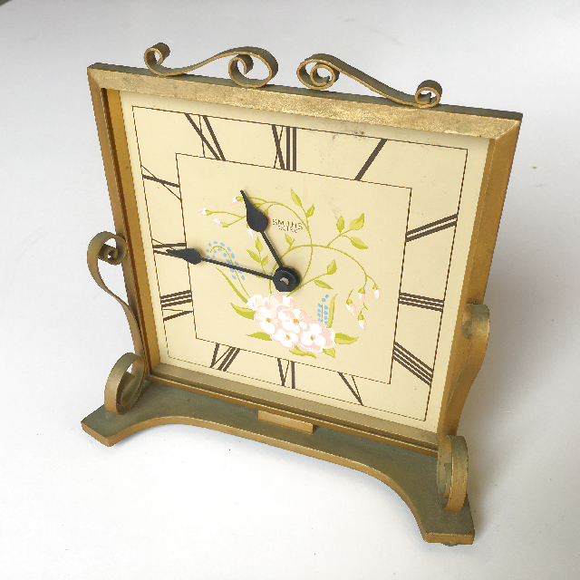 CLO0059 CLOCK, Mantel Clock - 1940s Gold Framed Smiths $18.75
