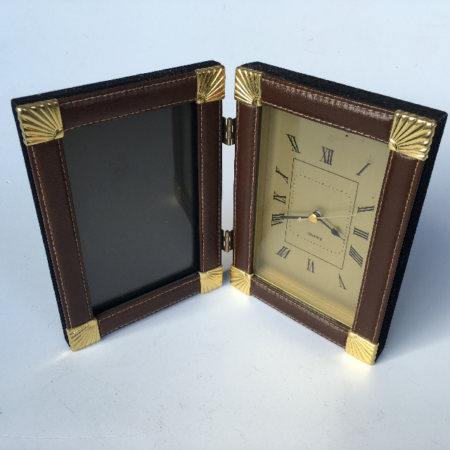 CLO0067 CLOCK, Mantel Clock - Leather Look Double Frame $6.25