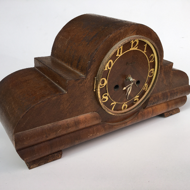 CLO0069 CLOCK, Mantel Clock - 1930s Timber (No Glass) $22.50
