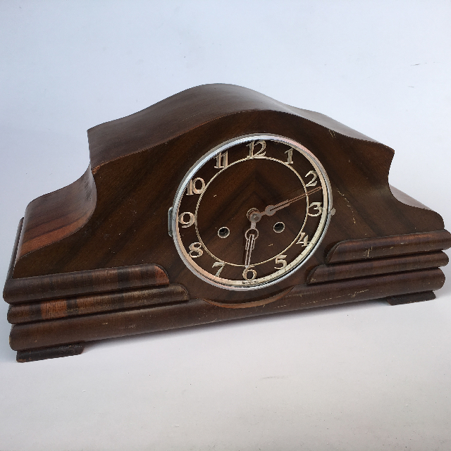 CLO0070 CLOCK, Mantel Clock - 1930s Dark Timber (No Glass) $22.50