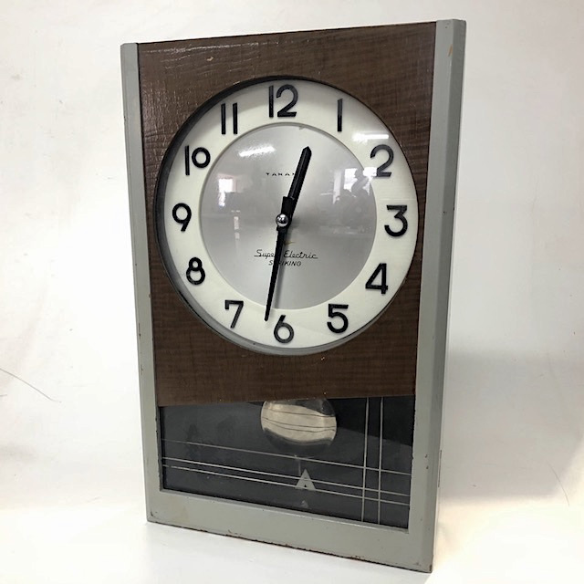 CLO0132 CLOCK, Pendulum - Grey & Timber, Japanese Super Electric $22.50