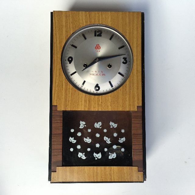 CLO0071 CLOCK, Pendulum - Asian Timber Veneer $22.50