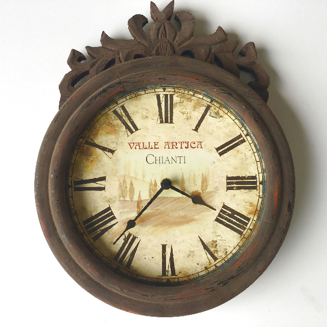 CLO0112 CLOCK, Wall Mount - Provincial w Faux Rust Frame $18.75